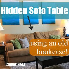 Clever Nest: Old Bookcase into Sofa Table! Childproofing in style :) Upcycled bookcase flipped on its side. Salvaged Furniture, Cool Furniture, Furniture Ideas, Old Bookcase, Couch Table, Childproofing, Beautiful Homes, House Beautiful, Game Room