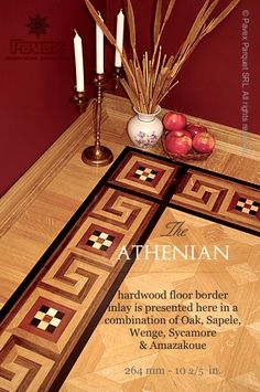 The ATHENIAN hardwood floor border inlay pattern. The 2nd Geometrica Collection. See details: http://www.pavexparquet.com/en/borders_geometrica/GB431-hardwood-floor-border-inlay-athenian.htm