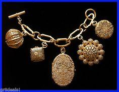 Vintage Chanel Filigree Charm Bracelet