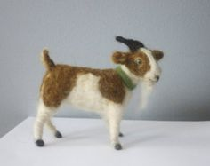 needle felted goat brown and white