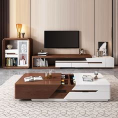 Modern Extendable TV Stand Entertainment Cabinet with Storage White&Walnut / White&Black TV Stand with Bookshelf & Drawer - TV Stands - Living Room Furniture - Furniture Modern Tv Unit Designs, Modern Tv Wall Units, Living Room Tv Unit Designs, Tv Stand Modern Design, Modern Tv Cabinet, Modern Tv Stands, Modern Centre Table Designs, Black Tv Cabinet, Unique Tv Stands