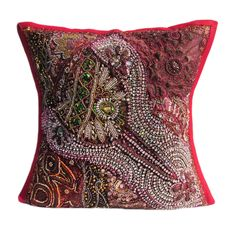 "16"" Indian Cotton Beaded Patch Work Gorgeous Traditional Pillow Cushion Cover 10 #JunedCraftPalace #ArtDecoStyle"