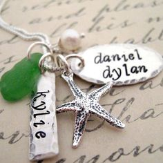 Starf Fish Mothers  Necklace Hand Stamped Star by JLynnCreations