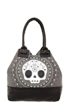 Amazon.com: Grey Lace Day of the Dead Sugar Skull Flower Tote Bag: Clothing..MY PURSE!!! I LOVE my new purse!! <3