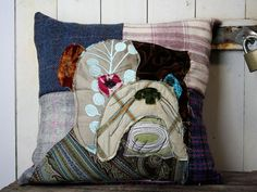 Bulldog Patchwork Cushion, Crazy, Retro, Funky, Tweed, Velvet, Embroidered Cushion, Rabbit