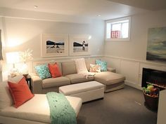 love the couch! small basement ideas pictures.  home decor and interior decorating ideas.  basement renovation.