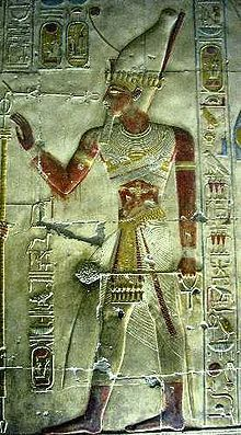 Image of Seti l from his temple in Abydos.  Seti l Pharaoh of Egypt 1290-1279 BC