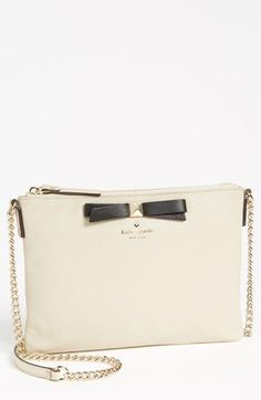 Black bow, gold chain, gorgeous! kate spade new york 'hancock park - ginnie' leather crossbody bag, small | Nordstrom