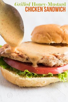 Grilled Chicken Sandwich with Honey Mustard Sauce Grilled Honey Mustard Chicken Sandwich with Easy Honey Mustard Sauce Recipe Best Recipe Box Grilled Chicken Sandwiches, Chicken Sandwich Recipes, Chicken Kabobs, Grilled Chicken Recipes, Grilled Meat, Bbq Chicken, Burger Recipes, Sauce Recipes, Meat Recipes