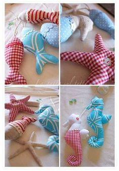 for my friends, Stacey and Noah who are having a babe soon! lil nauitcal themed pillows for the nursery animali-marini-di-stoffa by virgie Sewing Toys, Sewing Crafts, Sewing Projects, Craft Projects, Beach Crafts, Kids Crafts, Diy And Crafts, Arts And Crafts, Fabric Toys