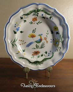 Gien Oiseau de Paradis Bird of Paradise Pottery Plate French Maiolica Faience #Gien