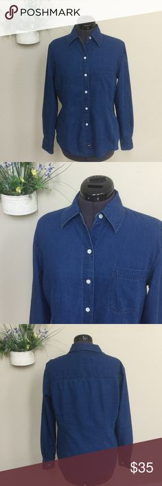 "🆕 Denim shirt by Emanuel Ungaro - Liberte This shirt is buttery soft! Size M. Armpit to armpit about 20"". Length from shoulder about 25"". A little longer in the back than the front. 100% cotton. A beautiful shirt! Emanuel Ungaro Tops Button Down Shirts"