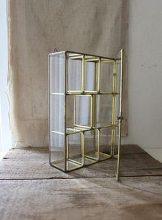 v i n t a g e brass and glass hanging display box