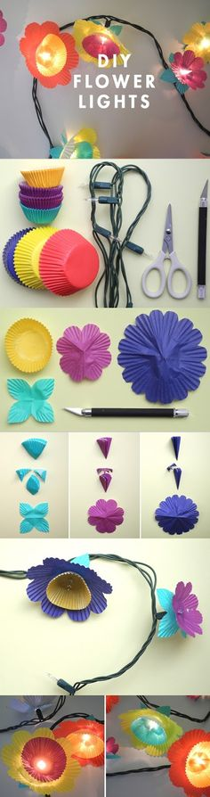 DIY cupcake liner flower lights. Super easy, inexpensive and customizable to any color scheme!