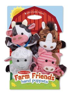 Melissa & Doug Farm Friends Hand Puppets (Set Of Multi - You and your little one can act out scenes and learn together with these 4 Farm Friends Hand Puppets from Melissa and Doug. These cute farm animals are machine washable for easy cleaning. Animal Hand Puppets, Glove Puppets, Puppet Making, Melissa & Doug, Farm Theme, Free Fun, Doll Toys, Kids And Parenting, Farm Animals