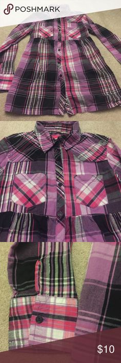 Justice Plaid Button down Shirt Multi color purple, black and silver button down shirt. Really cute and looks new! Justice Shirts & Tops Tees - Long Sleeve
