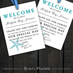 Cute starfish beach wedding theme welcome tags for out of town guest bags, hotel bags, wedding welcome bags! Just print and cut!