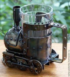 Купить Подстаканник-паровоз - серебряный, подстаканник, паровоз, стимпанк, steampunk, ржд, день железнодорожника, сталь
