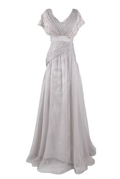 Sunvary Fancy Lace and Chiffon Mother of the Bride Dress Long Silver Bridesmaid Party Prom GownsUS Size 2- Silver