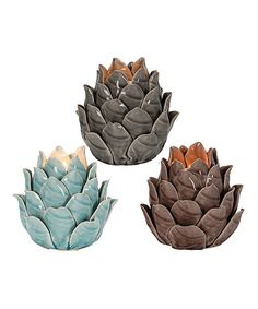 Another great find on #zulily! Ceramic Pinecone Tea Light Holders by Designs Combined Inc. #zulilyfinds