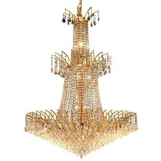 """Elegant Lighting Victoria 32"""""""" 18 Light Elements Crystal Chandelier ($12,114) ❤ liked on Polyvore featuring home, lighting, ceiling lights, gold finish, chain light, crystal lamps, light bulb chandelier, chain chandelier and colored chandeliers"""