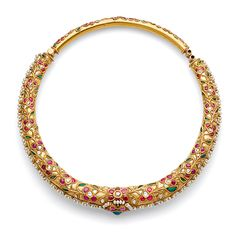 A hinged 'hasli' or collar necklace with a central stylised flower head, kundan-set with ruby and emerald cabochons and seed pearls, to a similarly designed surround of foliate motifs, kundan-set with rose-cut 'polki' diamonds, ruby and emerald cabochons. Gold Jewellery Design, Designer Jewelry, Nose Jewelry, Indian Wedding Jewelry, India Jewelry, Churidar, Antique Jewelry, Jewelery, Kundan Set
