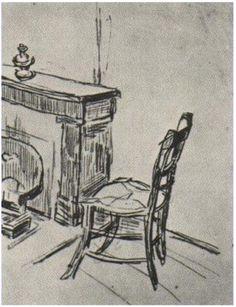 Vincent van Gogh Silla cerca de la cocina Drawing                              …