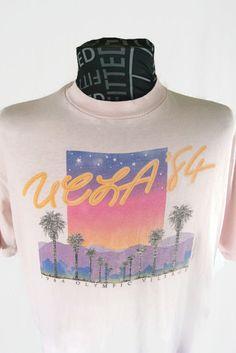 25eac92032f613 UCLA  84 T-Shirt 1984 Olympic Village Vintage University Men s Olympics  Hanes Beefy T Los Angeles Short Sleeve Pink