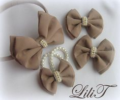 Beige.Blue.White. Chanel. Girl. Bows. Birthday. Gift. Hair