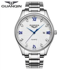 79.96$  Buy here - http://alik4o.worldwells.pw/go.php?t=32712239210 - GUANQIN GQ80007 Original Brand Authentic business watches men's quartz watch ultra thin white stainless steel relogio masculino 79.96$