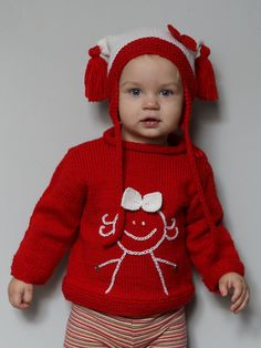 Hand knitted baby girl sweater with embroidered by LuckyKnitWear