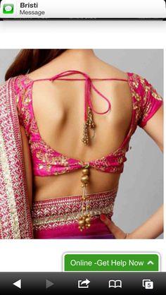 Great use of latkhan's Saree Blouse Neck Designs, Saree Blouse Patterns, Dress Neck Designs, Blouse Desings, Fashion Blouses, Indian Designer Wear, Blouse Styles, Sleeveless Blouse, Kurti