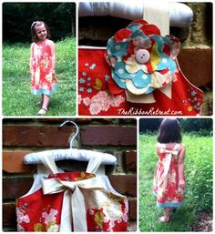 Super easy dress without a pattern and adorable ribbon to tie in the back.