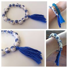 Pulsera bolas blanca con decoración y pompón azul.