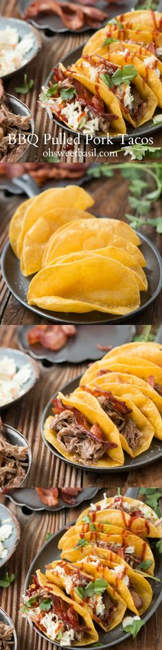 These are my new favorite tacos and they aren't even regular tacos! BBQ Pulled Pork Tacos ohsweetbasil.com