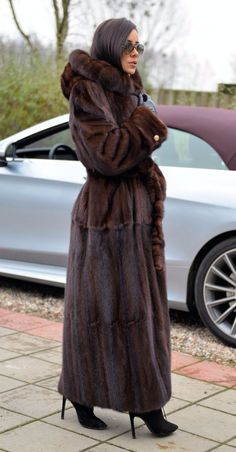 LONG TRENCH FUR COAT. SAGA MINK. WITH BEAUTIFUL HOOD & BELT. IS ONE OF THIS FUR THAT WE DO NOT HAVE TO RECOMMEND. FUR FASTENED ON FURRIER'S SNAP FASTENERS. - SAGA MINK. All skins used in our fur coats are Farm Raised. | eBay!