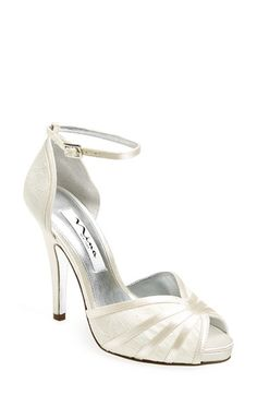 Wedding Shoes #Ivory Nina 'Eliane' Ankle Strap Sandal (Women) at Nordstrom.com. A stunning use of mixed-media details a gorgeous d'Orsay sandal finished with a flirty peep-toe and slim ankle strap for a beautiful look perfect for any special occasion.