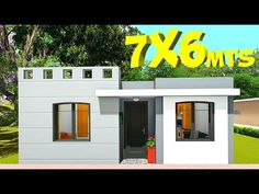 7x6 House Plan - YouTube Small Modern House Plans, Small House Design, Small Loft Apartments, 2bhk House Plan, 2 Bedroom House Plans, Plans Architecture, House Construction Plan, Door Gate Design, Facade House