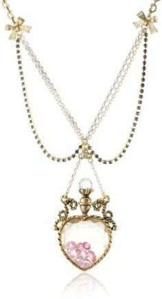 "Betsey Johnson Fairyland"" Crystal Heart Bottle Pendant Necklace, 19"" on shopstyle.com"