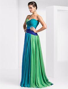 Vestido de Noche/Baile de Promoción de Gasa, Hasta el Suelo y con Corte Columna - USD $ 147.49