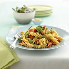 Fusilli pasta with salmon and chives. Nice easy Sunday night dinner.