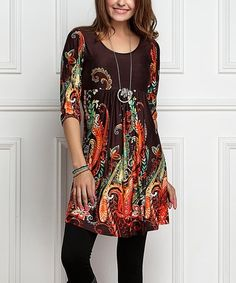 Look what I found on #zulily! Brown Paisley Empire-Waist Tunic Dress - Plus sizes too - love this for Fall