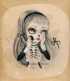 We are Just Bones And Poetry LIMITED EDITION print signed numbered Simona Candini lowbrow pop surreal big eyes sugar skull girl gothic art on Etsy, $30.00