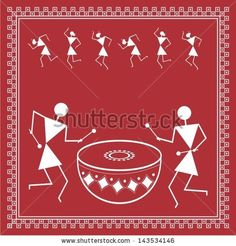 Find Indian Tribal Painting Warli Painting stock images in HD and millions of other royalty-free stock photos, illustrations and vectors in the Shutterstock collection. Madhubani Art, Madhubani Painting, Worli Painting, Fabric Painting, Pottery Painting Designs, Paint Designs, Om Namah Shivaya, Art Indien, Kunst Der Aborigines