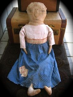 * PRIMITIVE EARLY RAG DOLL* PRAIRIE FOLK ART *