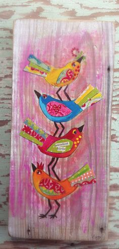Sweet Birds Mixed Media on Reclaimed Wood by evesjulia12 on Etsy