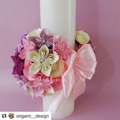 FOLLOW @origami__design ・・・ Choose a candle with some beautiful #paperflower from Origami Design for the #baptism of the princess.… E Flowers, Paper Flowers, Baptism Candle, Paper Flower Decor, Baby Baptism, Origami Design, Mom Birthday Gift, Pillar Candles, Gifts For Mom