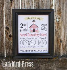 Teacher Appreciation Gift - Printable - Keepsake - PDF - Personalized - School House. $8.00, via Etsy.