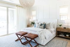 Beautiful master bedroom with a modern coastal aesthetic - love the leather stools at the end of the bed - bedroom ideas - bedroom lighting - bedroom decor - master bedroom ideas Modern Bedroom Design, Master Bedroom Design, Modern Room, Bedroom Wall, Bedroom Decor, Bedroom Ideas, Master Suite, Bedroom Lighting, Bedroom Inspo