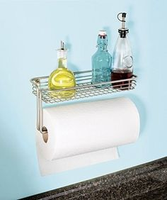 MDesign Paper Towel Holder with Spice Rack and Multi-Purpose Shelf - Wall Mount Storage Organizer for Kitchen, Pantry, Laundry, Garage - Durable Steel Wire Design - Satin. Free up kitchen counter space with the wall mount paper towel holder from mDesign. Kitchen Storage Hacks, Kitchen Shelves, Kitchen Pantry, Kitchen Dining, Kitchen Organization, Kitchen Organizers, Smart Storage, Cupboards, Kitchen Utensils